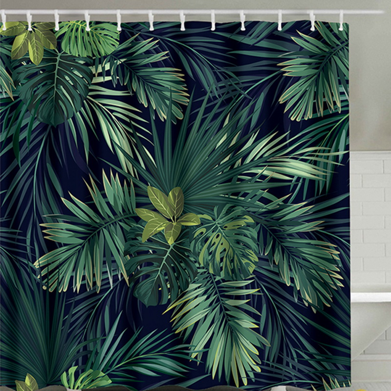 Green Shower Curtain Leaves Printing Pattern Modern Natural Plant Pattern Polyester Bathroom Curtains 180 x 180cm