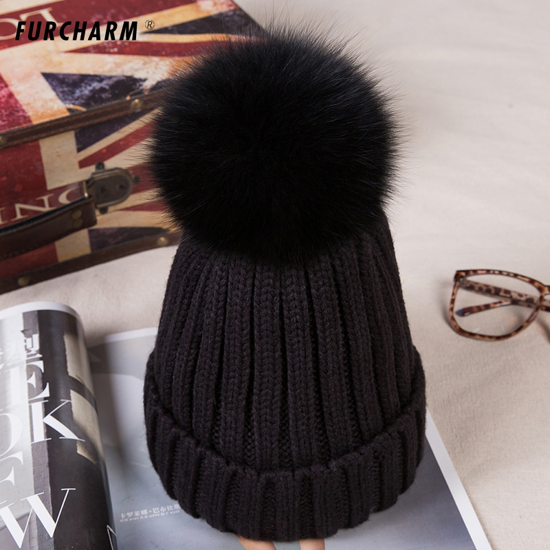 Baby Thick Kids Knitted Hats for Winter with 12CM Real Fox Fur Pom Poms Baby Caps Good Quality Cashmere Boys Girls Beanie Hats baby thick kids knitted hats for winter with 12cm real fox fur pom poms baby caps good quality cashmere boys girls beanie hats