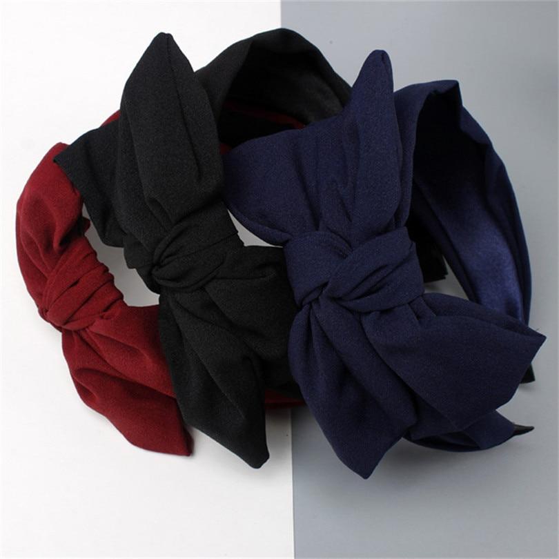 Haimeikang Vintage Solid Stripe Rabbit Ear Wide Headband Hairband for Women Girls Knot Hair Bands   Headwear   Hair Accessories