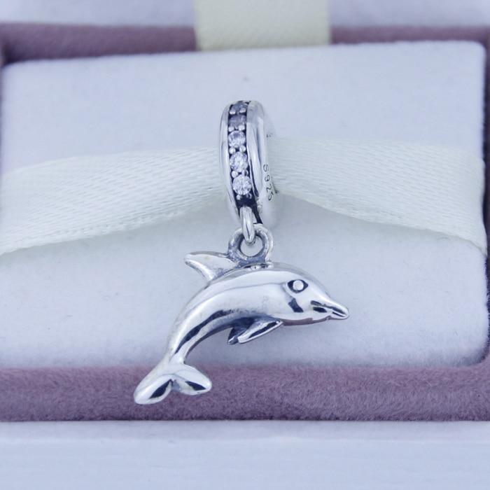 48ed6e7e244f Plata Cuentas cupieron para las pulseras de Pandora Dolphin cuelga la plata  esterlina 925 Amuletos joyería con C. Z. Estilo europeo de las mujeres C677