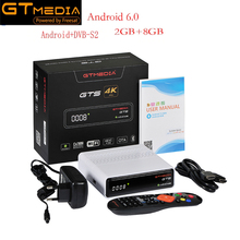 IPTV CCcam GTmedia GTS Satellite Receiver Android6.0 TV BOX+DVB-S/S2 Smart TV BOX Built-In WiFi HD 4K Remote Control Set Top Box 2017latest singapore cable box tv receiver blackbox starhub set top box black box c801 built in wifi in good resolution antenna