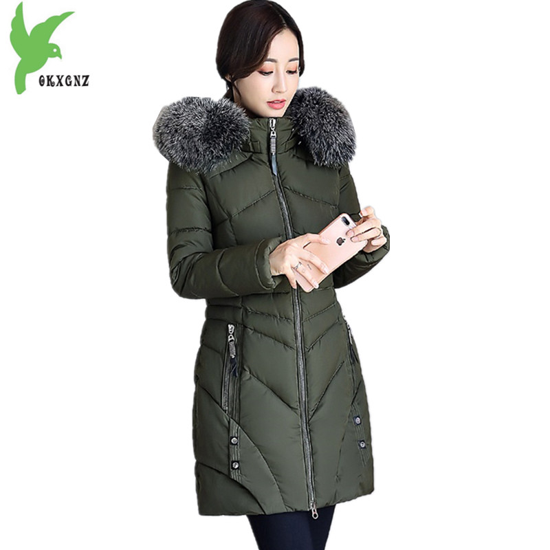 Boutique Women Winter Jacket Coats Thick Warm Parkas Hooded Fur collar Jackets Down Cotton Coats Plus size Slim Coats OKXGNZ1203 new women winter cotton jackets long coats hooded fur collar parkas thick warm jacket plus size female slim outerwear okxgnz1072
