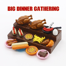Foods City Accessories MOC Bricks Building Blocks Pizza Bread Roast Chicken Hot Dog Friends Figure Parts Kids Gift Toys Children