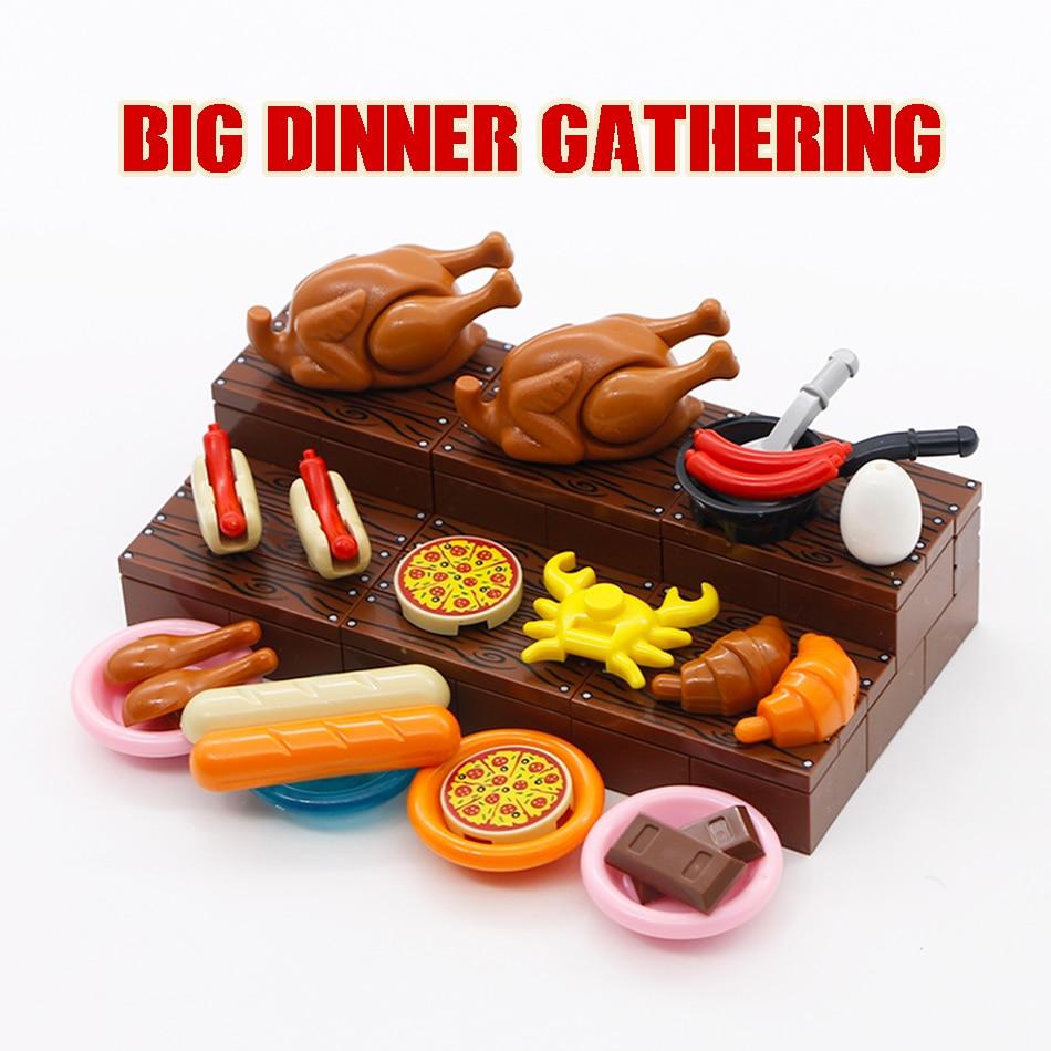 LegoINGlys City Food Accessories Building Blocks Pizza Roast Chicken Bread Hot Dog Friends Figure Parts MOC Bricks Toys Children
