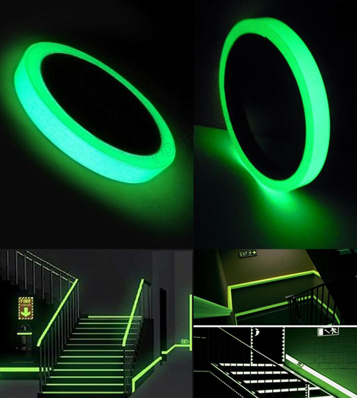 2m Luminous Self-adhesive Tape Sticker Photoluminescent Glow in the Dark DIY Wall Fluorescent Safety Emergency Stairs Line graffiti party diy glow in the dark luminous pigment