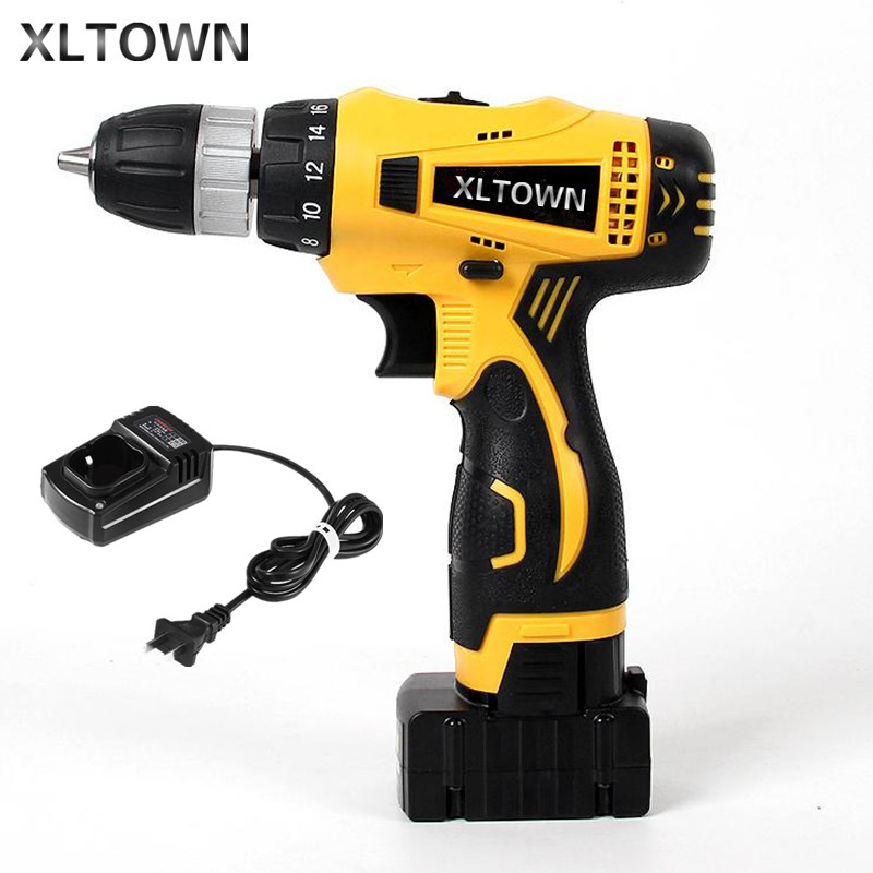XLTOWN 25V Electric Drill 2000mA Large Capacity Lithium Battery Electric Screwdriver Rechargeable Multi-Motion Electric Drill xltown 25v 2000ma impact drill with bits