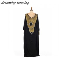 Caftan Islamic Abaya in Dubai Evening Dresses A Line Sexy Chiffon Crystals Beading Party Gowns Arabic