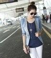 2015 Nova Magro Denim Jackets Patchwork Casacos Jeans Brasão Clássicos Casacos Mulheres Moda Jeans Casacos Rebites Jaquetas LY982