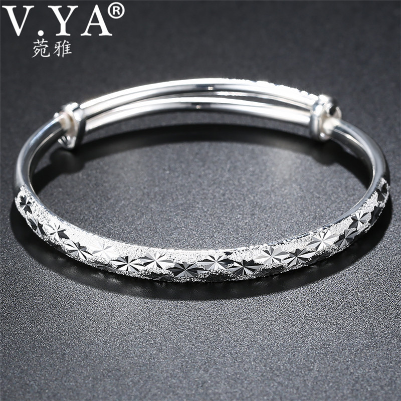 V.YA Classic 999 Sterling Silver Bracelets Fashion Expandable Bangle Cuff Bracelet for Female Women Jewelry Christmas Gift chic father christmas cuff bracelet jewelry for women
