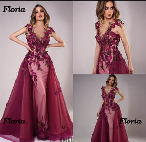 Party Gowns Prom-Dress Evening-Dresses Flower Arabic Muslim Moroccan Formal Sexy African