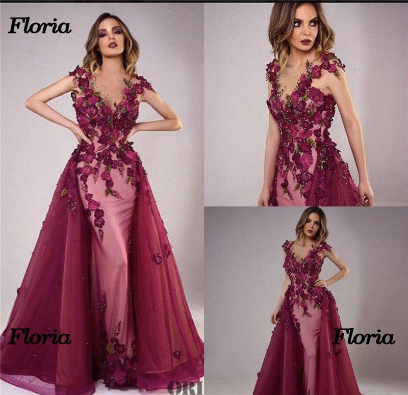 African Flower Formal   Evening     Dresses   Muslim Arabic In Dubai Party Gowns Sexy Prom   Dress   Vestido de festa Moroccan Kaftans Gowns