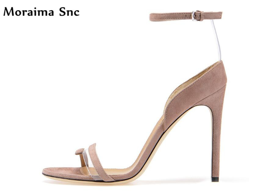 Moraima Snc hot selling open toe Buckle strap mixed colors vintage velvet high heels bling chic female party sexy for ladies