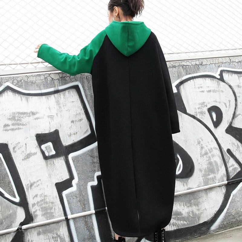 Femmes Noir Irrégulière À Pj26 Robe De Poche Couture Robes Coton Élégant Automne Mode Vert Black Lâche Capuchon Occasionnel Printemps Long JF1Kcl