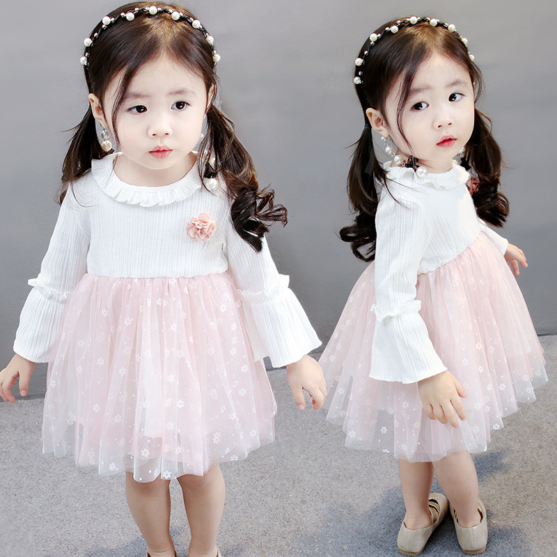 New Fashion Spring Long Sleeved Flower Dot Infant Kids Baby Bebe Girls Lace Dresses Pink Princess Birthday Party Dress