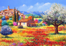 Country House DIY Diamond Painting Scenery Flowers Full Square  Embroidery Landscape Tree Mosaic Rhinestones Paintings