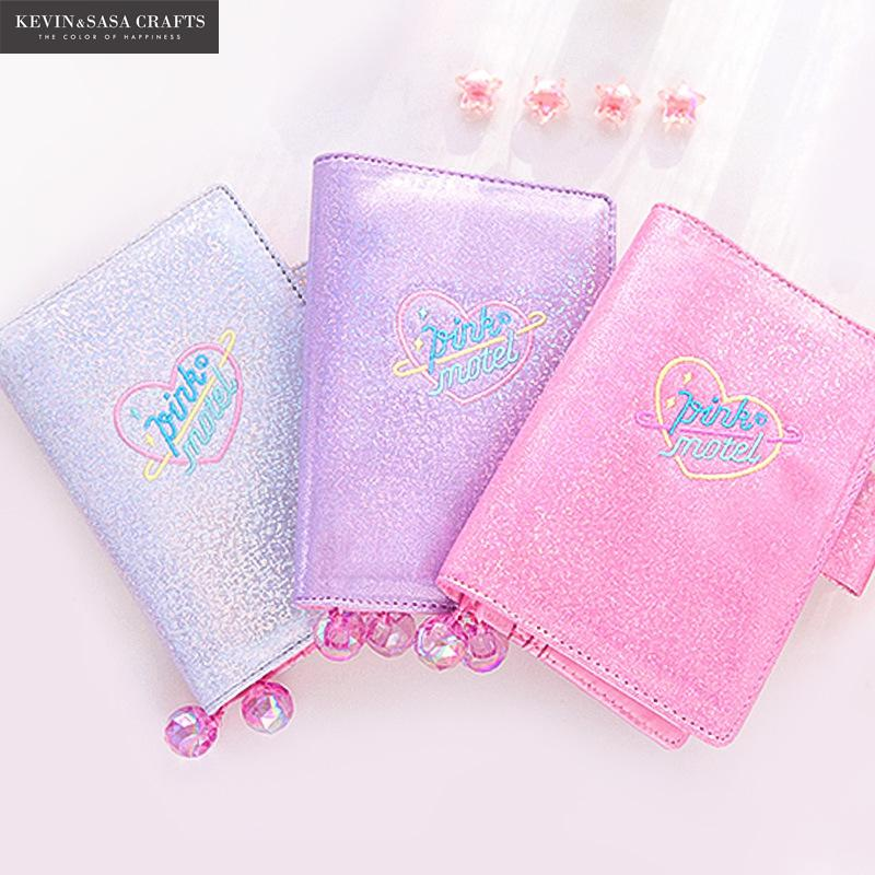 Iridescent Laser Notebook Quality PU School Supplies Bts Stationery Gifts Note Book School Cute Diary Bts School Planner Tools iridescent pu wallet