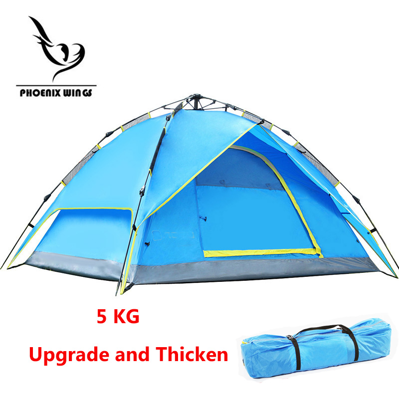 Upgrade Thicken Automatic Waterproof Double Layer Tent 3-4 person Outdoor Hiking Camping Tent Windproof Picnic Tents hot outdoor camping double layer 2 person aluminum rod tent waterproof windproof high strength camping tent