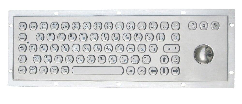 bilder für 66 schlüssel tasten Hexagon keycap wasserdichte tastatur mit optional touchpad oder integrierte 38mm edelstahl metall trackball