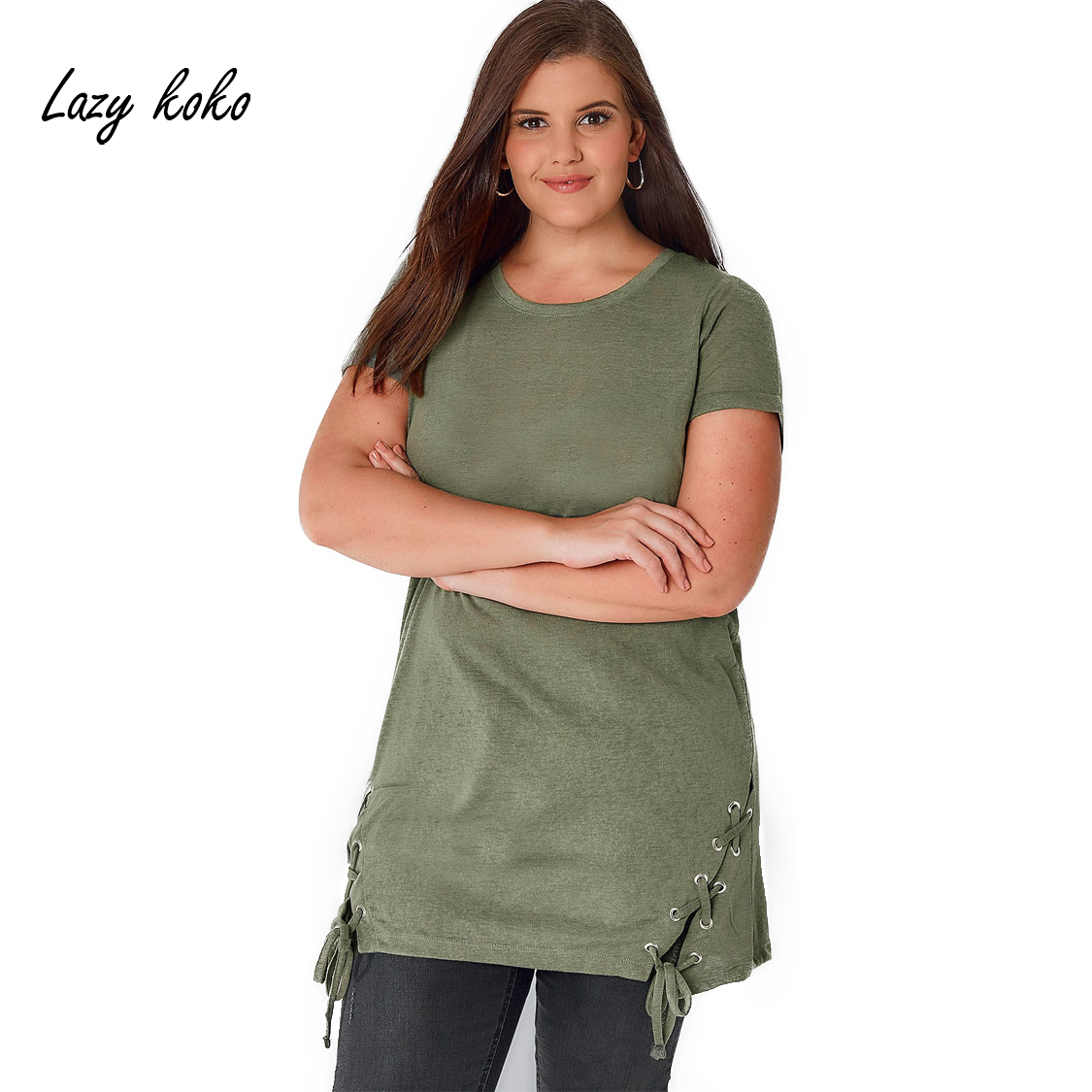 Lazy koko plus size side bandage o neck short sleeve basic for Large shirt neck size