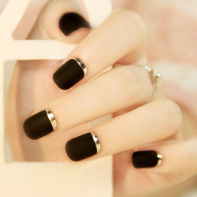 French charming matte black false nails set Cute Japanese fake nails ...