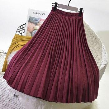 2019 Two Layer Autumn Winter Women Suede Skirt Long Pleated Skirts Womens Saias Midi Faldas Vintage Women Midi Skirt 3