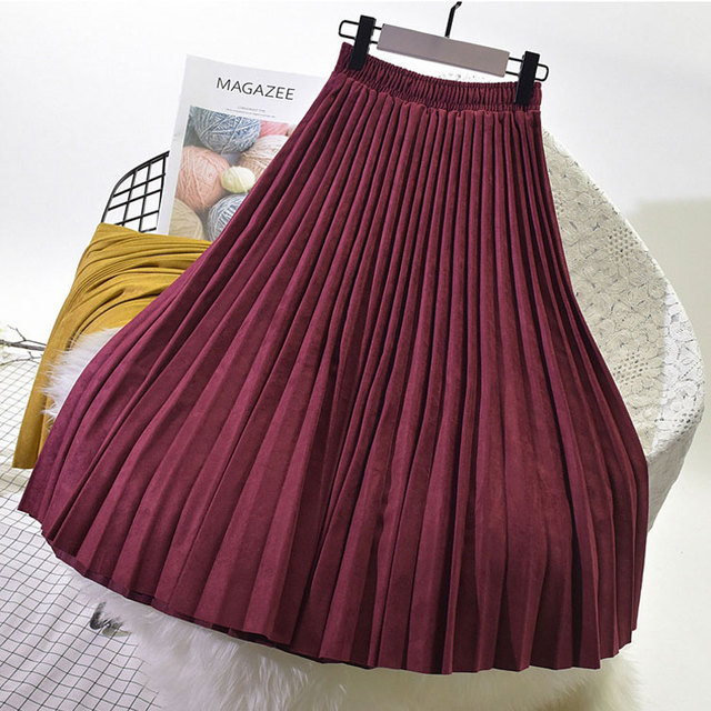 Two Layer Autumn Winter Women Suede Long Pleated Vintage Women Midi Skirt 2