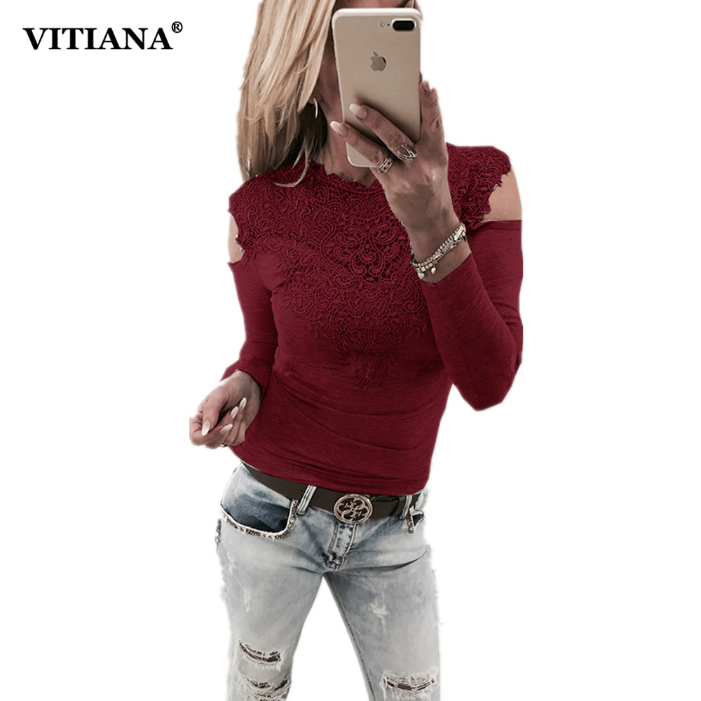VITIANA Women Casual Shirt Female Black Wine Red Long Sleeve Lace Patchwork V Neck Sexy Party Tops Tee Off The Shoulder T-shirts