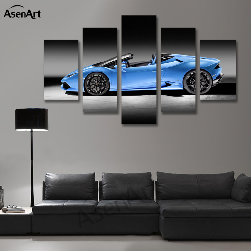 5 Panel Canvas Art Blue Sports Car Picture Modern Oil Painting For Living Room Wall Prints Artwork Unframed