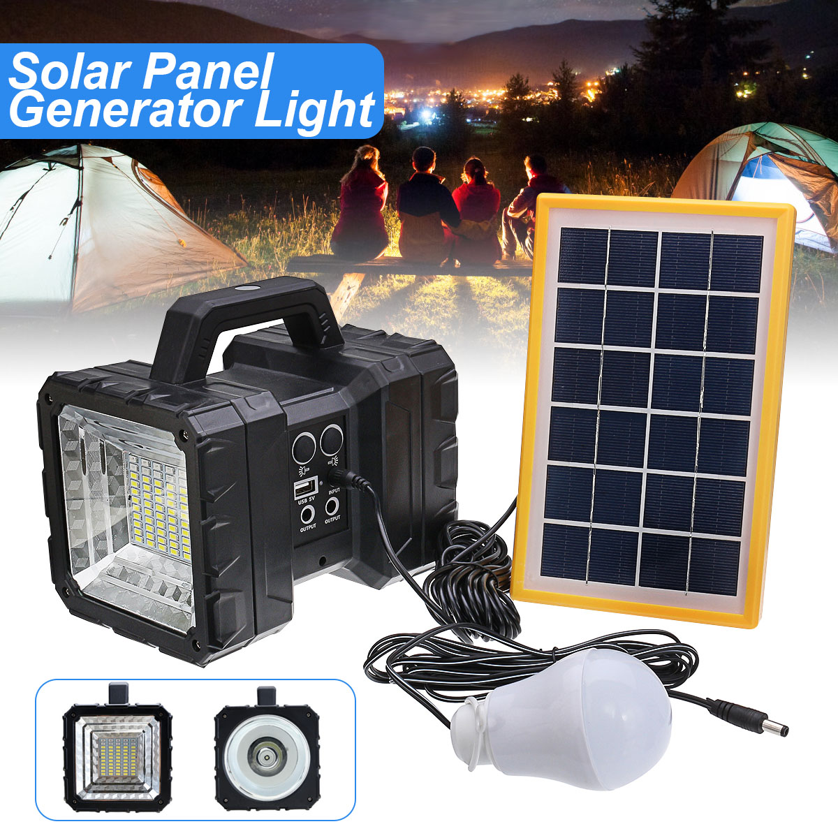Portable Solar Panels Charging Generator Power System Outdoor Power Bank Home Outdoor LED Lighting System Camping Lantern home outdoor lighting portable led solar panels charging generator power system support usb disk sd card fm function rc
