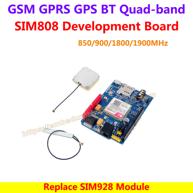 SIM808 Development Board GSM GPRS GPS BT Quad-band 850/900/1800/1900MHz , SMS cell broadcast , Replace SIM928 Module