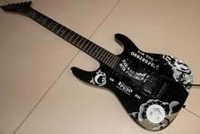 Высокое качество GYESP-0006 черный цвет комплектующие черного цвета палисандр гриф Кирк хэмметт Ouija электрогитара, бесплатная доставка