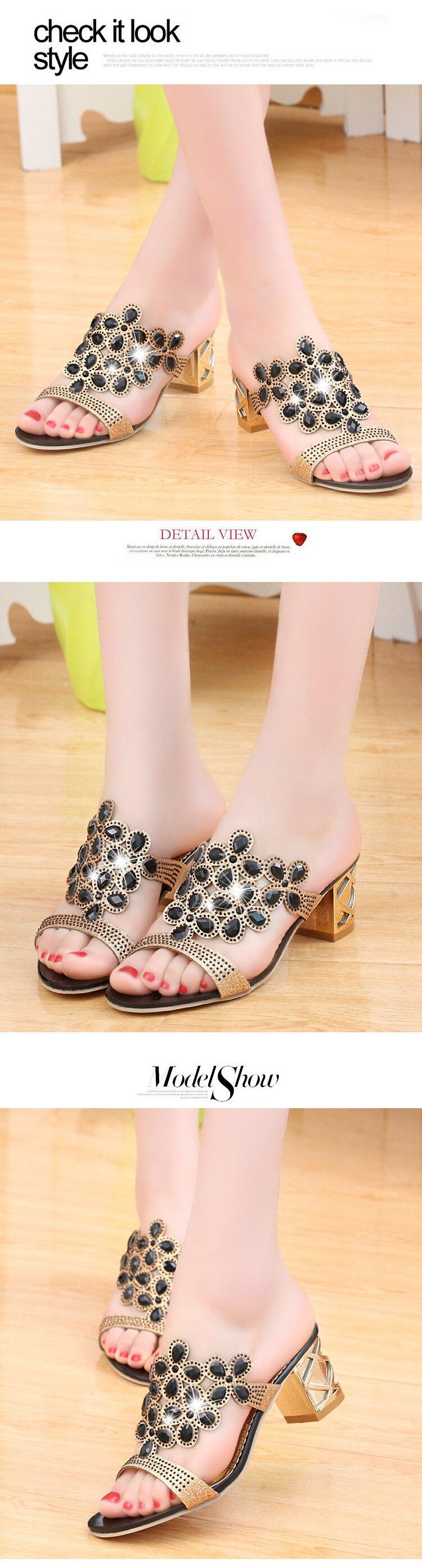 HTB1U.aIiQKWBuNjy1zjq6AOypXa6 Designer Sandals Women 2018 Ladies Slides Women Slippers Sandals Summer Crystal Shoes Peep Toe Middle Heels Zapatos Mujer