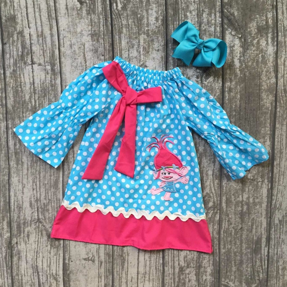 new Fall/winter long dress baby girls aqua hot pink troll polka dot clothing wear woven gift clothes with matching bow children