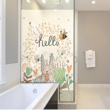 Waterproof Window Film Cartoon Sweet Happy Time Home Frosted Opaque Static Privacy Balcony Bathroom Decals Glass Sticker New