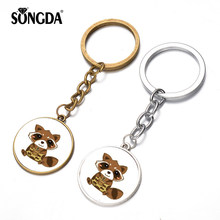 SONGDA Guardians of The Galaxy Keychain Rocket Raccoon & Tree Man Groot Q Version Cute Figures Time Gem Pendant Toy Gift Keyring(China)