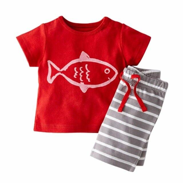 2 unids Bebé Ropa verano barco pirata de dibujos animados impreso camiseta + Stripe Pant ropa Unisex niños niñas conjuntos