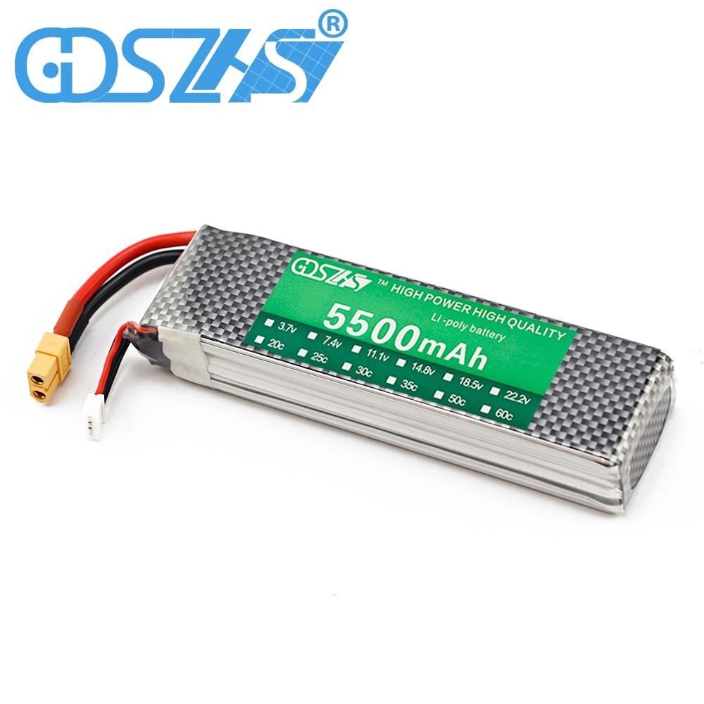 GDSZHS Power 11.1V 5500mAh Lipo Battery 30C 3S Battery 3S LiPo 11.1 V 5500 mAh 30C 3S Lithium-Polymer Batterie For RC car 2600mah 11 1v 3s 30c lipo battery
