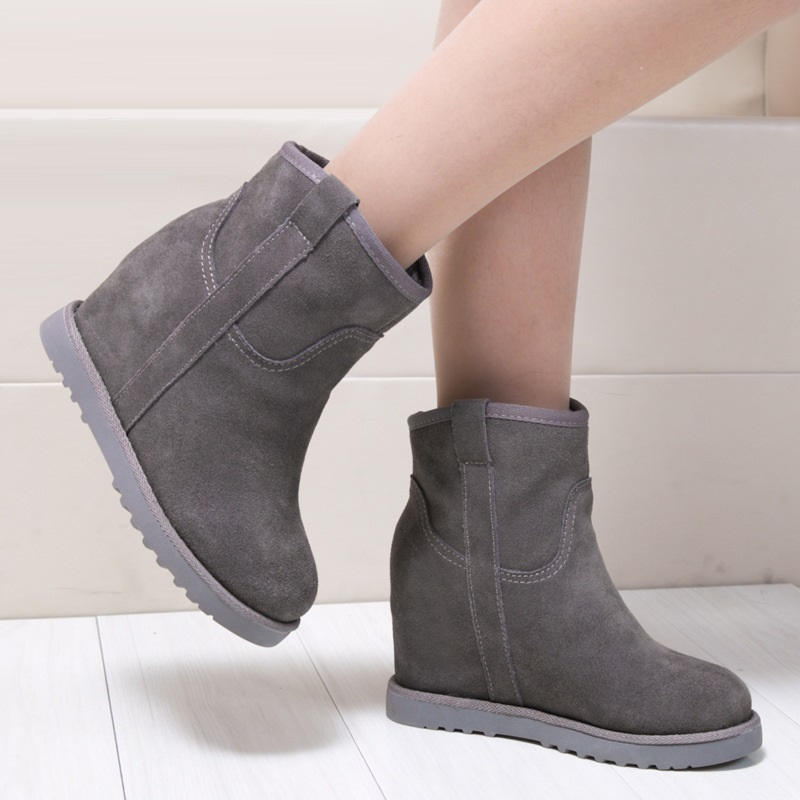 6CM Added Warm Women Snow Boots Platform Winter Shoes Basic Suede Ankle Boots Female Fashion Non-Slip Plush Casual Shoes ABT1067 цена
