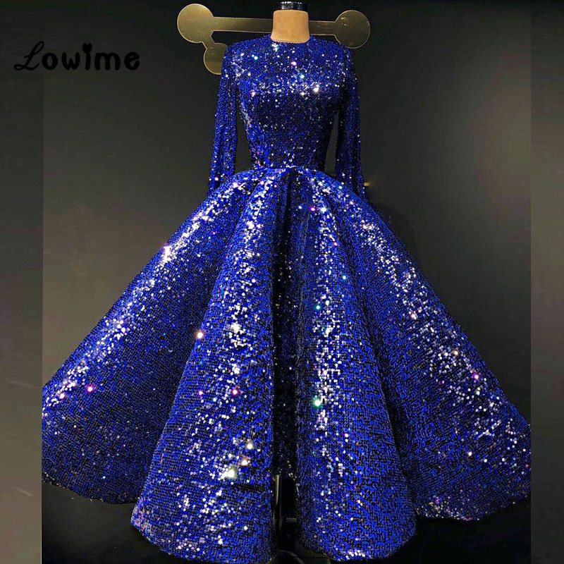Bling Royal Blue Shiny Sequin Prom Dresses Long Sleeve Formal ...