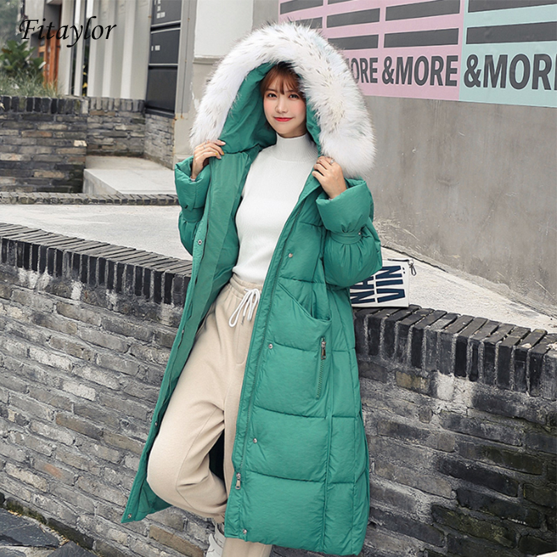 Fitaylor Winter Women Long   Parkas   Coat Thick Warm Large Fur Collar Long Jacket Female Casual Thicken Cotton Hooded Overcoat