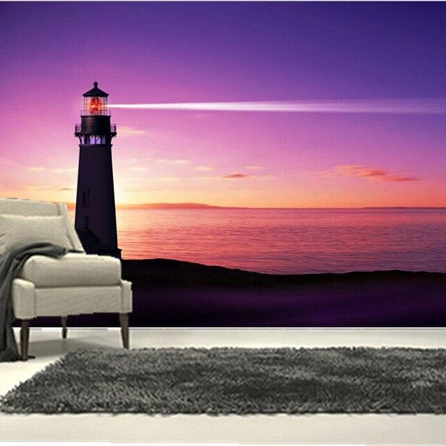3D personalizzato grande murale, raggio di luce emessa da un faro ...