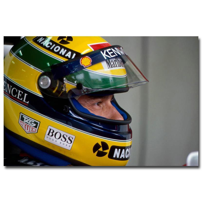NICOLESHENTING Ayrton Senna da Silva Car Racer Art Silk Poster Print Sports Pictures Living Room Decor 005