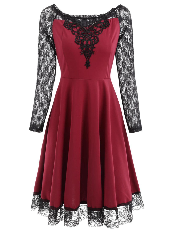 Wipalo Women Vintage Dress Elegant Style Lace Trim Round Neck Long Sleeves Spring Summer Retro Dress Party Vestidos 60s Dress