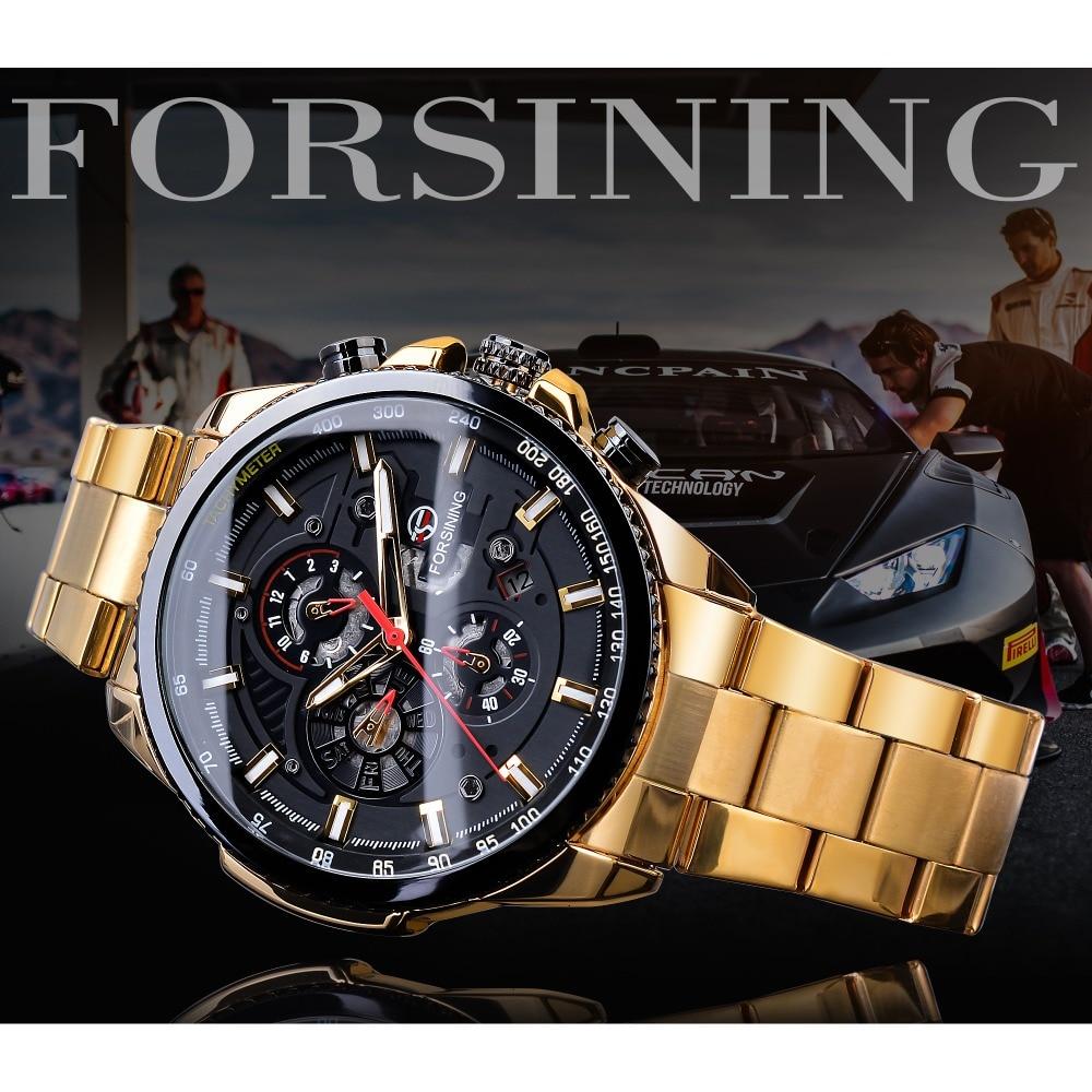 Forsining Steampunk Sport série classique noir doré horloge mâle complet calendrier hommes montres automatiques Top marque de luxe - 2