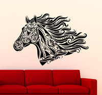 Tribal Horse Head Pattern Vinyl Wall Sticker Art Design Home Livingroom Best Decor Hot Selling Quality