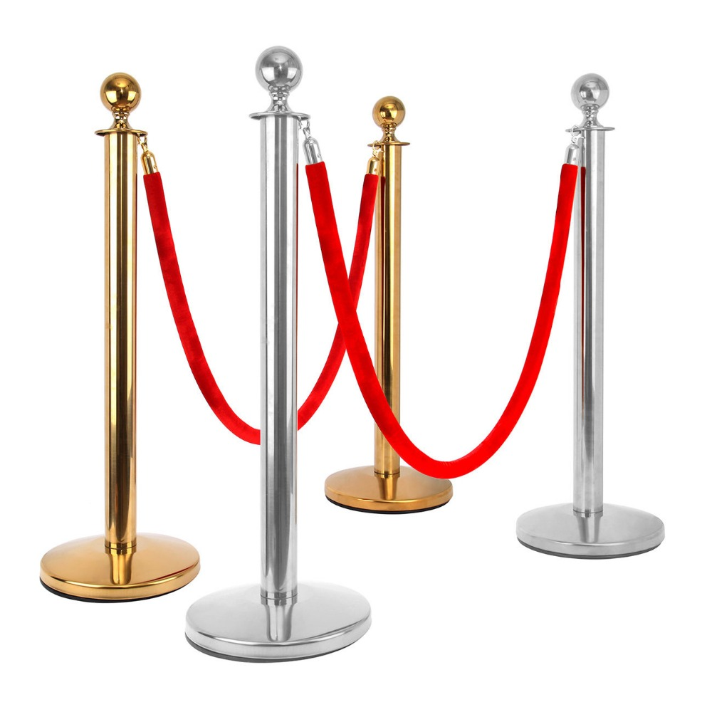 Red 4x Set of FLEXIBARRIER Post /& Rope Stanchion + 2x Barrier Ropes Gold Finish