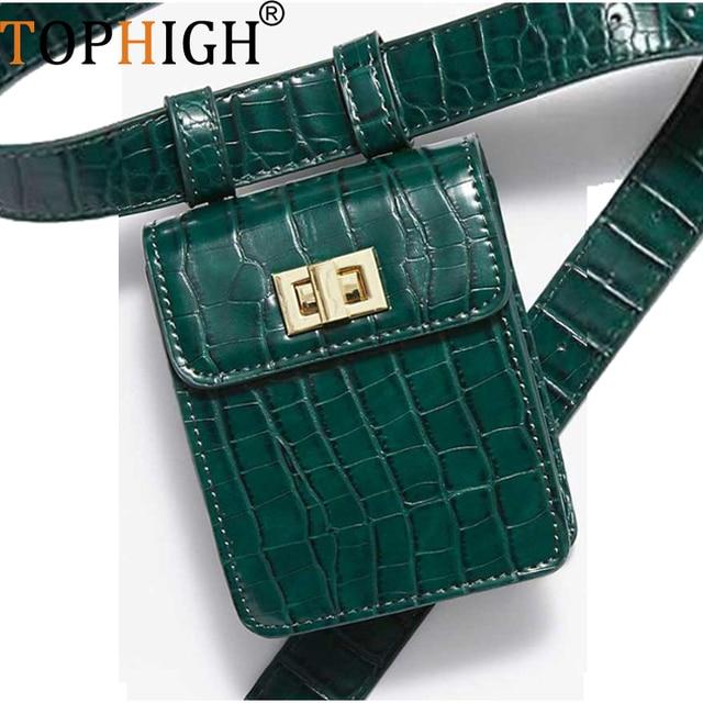 TOPHIGH Newly Women Fashion Crocodile Pattern Leather Messenger Shoulder Bag Hobos Chest Bag PU Zipper messenger bags women