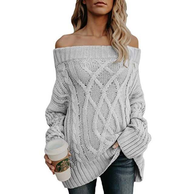 6068715f58 Sexy Off Shoulder Knitted Sweater Women Thick Long Sleeve Pullover Autumn  Jumpers Womens Sweaters 2018 Winter