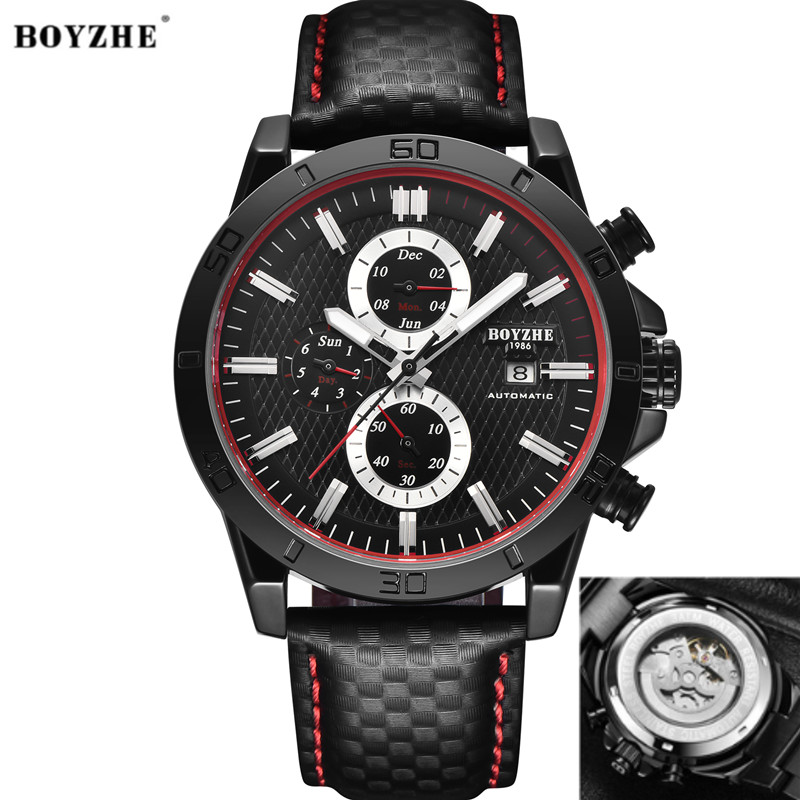 BOYZHE New Men Automatic Mechanical Watch Fashion & Casual Luxury Brand Stainless Steel Leather Sports Watches Relogio MasculinoBOYZHE New Men Automatic Mechanical Watch Fashion & Casual Luxury Brand Stainless Steel Leather Sports Watches Relogio Masculino