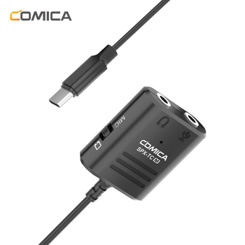 Comica SPX-TC 3.5MM(TRS/TRRS)to Type-C/USB-C Dual Jack Splitter Microphone Audio Adapter Cable for Huawei Samsung HTC Smartphone